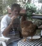 1 hen named Prissy eating pizza with my man Bobby
